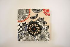 Black, White and Red Collage on Timber by FickleNellie on Etsy