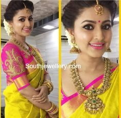 Sneha in Antique Gold Mango Mala and Jhumkas