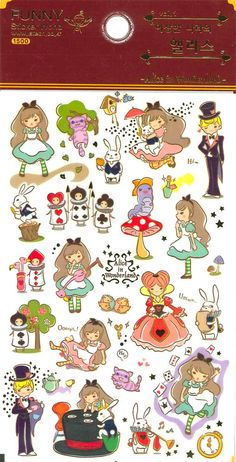 Korean Scrapbook Gold Foil Transparent Stickers - Alice in Wonderland (STNO05010) on Etsy, $1.90