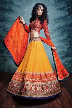 Orange Georgette Bridal Lehenga
