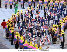 RIO DE JANEIRO, BRAZIL - AUGUST 5, 2016: Serbian Olympic team marched into the Rio 2016 Olympics opening ceremony at Maracana Stadium in Rio de Janeiro