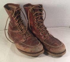 Wards Powr House Montgomery Wards Mens Tan Leather Work Boots Para Crepe Soles #WardsPowrHouse #HikingTrail