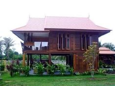 Architecture Traditional House in Thailand Wood House Design, Village House Design, Small House Design, Modern House Design, Thai House, Asian House, Tropical House Design, Tropical Houses, Rest House