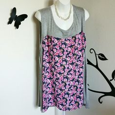 """$$ Sleeveless Rose Print & Gray Top So adorable & flattering! This sleeveless top has a beautiful chiffon rose print on the front, and is gray on the shoulders and back. It has a great a-line flow, and the gray parts are very stretchy. Material is polyester / rayon / spandex blend.  Size is 3X Bust: Approximately 51"""" Length: Approximately 30""""   New without tags.  $$ FINAL PRICE Bobeau  Tops"""