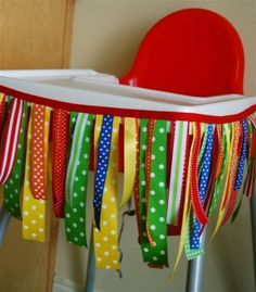 Bright Ribbon High Chair Banner First birthday fun! Baby 1st Birthday, First Birthday Parties, First Birthdays, Birthday Ideas, Birthday Chair, Birthday Highchair, Circus Birthday, Circus Party, Birthday Candy