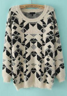 Beige Geometric Print Collarless Loose Wool Blend Sweater