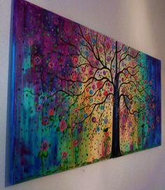 Rainbow tree painting @Gayle Robertson Robertson Cummings Make me this!