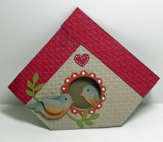 Birdhouse Stampin Up Card Ideas Gallery Fancy Fold Cards, Folded Cards, Deco Kids, Shaped Cards, Bird Cards, Marianne Design, Scrapbook Cards, Scrapbooking, Shabby