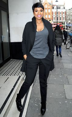 Dark Side from Celebrity Street Style  Jennifer Hudson kept it simple in dark colors while walking the streets of London.