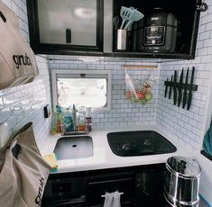 Swipe to see the kitchen before! We removed the convection microwave since we own a which opened up more space. Truck Camper, Rv Campers, Happy Campers, Day Van, School Bus Conversion, Tiny Living, Campervan, Van Life, Are You The One