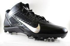new arrival 5353b 12e6d Nike Men s Alpha Pro 3 4 TD Football Cleats 579636 002 Black Silver Size