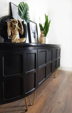 Tv Stand Sideboard, Sideboard Decor, Retro Sideboard, Black Sideboard, Dining Room Sideboard, Mid Century Sideboard, Black Tv Cabinet, Hallway Sideboard, Mid Century Buffet