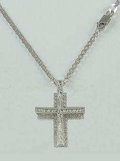 Σταυρός βάπτισης λευκόχρυσος με λευκά ζιργκόν σε αλυσίδα, 14 καράτια, κορίτσι, Κωδικός WS233