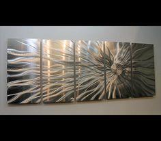 Conductivity - Metal Abstract Modern Silver Wall Art Sculpture by Jon Allen: Contemporary Metal Art Sculptures by Jon Allen