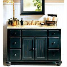 distressed black bathroom vanity