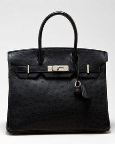 Hermes Black Ostrich Leather Birkin 30cm