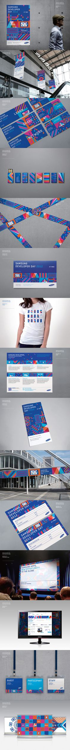Really nice branding design of many different elements by Samsung Developers Brand eXperience Design by Plus X , via Behance Event Branding, Corporate Identity Design, Brand Identity Design, Graphic Design Branding, Visual Identity, Logo Design, Collateral Design, Personal Identity, Restaurant Branding