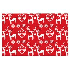 KESS InHouse Miranda Mol 'Antler Fun Red' Holiday Dog Place Mat, 13' x 18' *** Hurry! Check out this great product (This is an amazon affiliate link. I may earn commission from it)