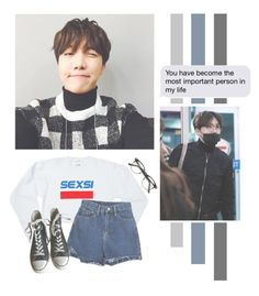 """""""Jung Hoseok"""" by lazy-alien ❤ liked on Polyvore featuring Petals and Peacocks, Converse, bts, Jhope and JungHoseok"""