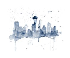 "Print of Seattle Skyline Giclee Canvas Art Print 8x10, 11x14 or 16x20 On Gallery Wrapped Canvas by Artist Amber McDowell. Giclee canvas art print of my original watercolor Seattle skyline. Gallery wrapped canvas is printed with 100% archival inks with a 12 color process for perfect vibrant colors. These prints come with hanging hardware installed and felt bumpers. Gallery wrapped canvas are 1.5"" in width for a museum art feel."