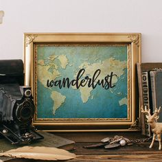 Wanderlust Poster. _______________________________________________________ This listing is an INSTANT DOWNLOAD FILES. No physical item will be