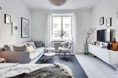tapis gris anthracite, sol en parquet clair, amenager un studio de 20m3