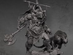 orc zbrush sculpting 3/4 view by Derrick Song on ArtStation.