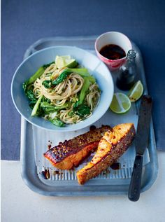 Honey soy-glazed salmon with sesame & ginger noodles & stir-fried bok choy – Lorraine Pascale