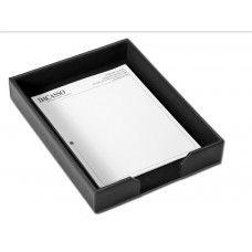 Desk Supplies>Desk Set / Conference Room Set>Holders> Files & Letter holders: Black Leather 2 Legal Trays
