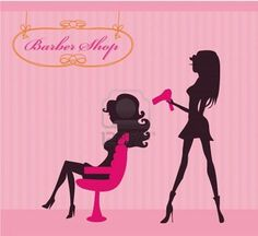 Vector illustration of the beautiful woman in hairdressing salon . Stock Photo