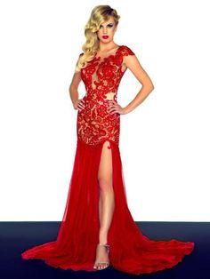 Trumpet/Mermaid High Neck Sleeveless Sweep/Brush Train Embroidery Lace Dress