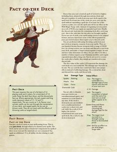 Pact of the Deck Dungeons And Dragons Classes, Dungeons And Dragons Homebrew, Dungeons And Dragons Characters, Dnd Characters, Fantasy Characters, Super Mario Rpg, Warlock Class, Warlock Dnd, Dnd Stats