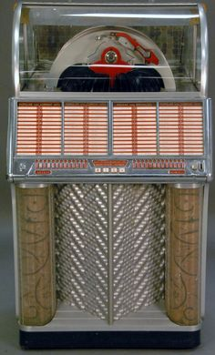 Wurlitzer multi selection phonograph (Juke Box), front with multi-colored lights in working condition, circa 1955. ht. 55in.; wd. 32in.; dp. 27 1/2in. - Realized Price: $2,760.00