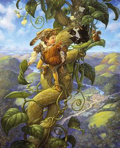 """Scott Gustafson - Classic Bedtime Stories [I'm a fan of Gustafson's illustrative style] The cover shows """"Jack and the Beanstalk"""" is included as one of the bedtime tales. Classic Fairy Tales, Jack And The Beanstalk, Fairytale Art, Bedtime Stories, Children's Book Illustration, Book Illustrations, Grimm, Illustrators, Digital Illustration"""