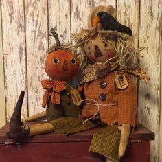 Primitive Doll Folk Art SCARECROW AND PUMPKIN ORNIE Fall OOAK Hang Tag Prim Crow…