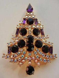 EISENBERG ICE Christmas Tree AB & Purple Rhinestones BROOCH.