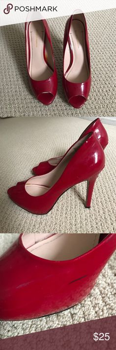 BCBGeneration red heels 👠 Used BCBGeneration bright red gorgeous pumps. Size38.5 but would say that fits like 38 BCBGeneration Shoes Heels