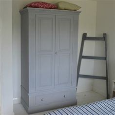 Antique Pine French Grey Hand Painted Wardrobe | West Egg Online Store | Furniture | Home Accessories | Workshops | Interior Services