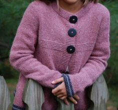 "Have your little girl arrive in style on her first day in this Back to School Cardigan.  Detailing around the collar and sleeves as well as three big buttons adorn this cute sweater.  Find this adorable pattern in the sidebar under ""libby."""