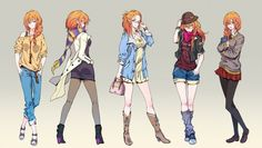 Different Anime Girls Styles Wallpaper.