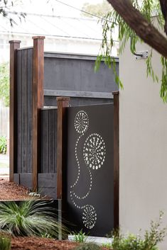 Interesting dandelions - check out the transition from negative-shape circles (directly cut out) to positive shape (rectangular brackets on 2 sides cut out, leaving a solid circle). Steel Gate Design, Door Gate Design, Garden Gates, Garden Art, Garden Design, Decorative Metal Screen, Tor Design, Outdoor Metal Wall Art, Laser Cut Steel