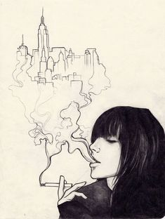Moleskine art - Urban Effing Cancer by sol-Escape . Sketch / Drawing Inspiration THE city is so simple but so beautiful Cool Sketches, Cool Drawings, Drawing Sketches, Sketchbook Drawings, Creative Sketches, Art Du Croquis, Drawn Art, Image Clipart, Art Et Illustration