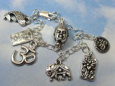 Eastern Philosophy Charm Bracelet - Zen Buddhist Hindu and Japanese symbols - Asian wisdom - free shipping USA