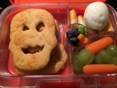 Pillsbury crescent roll skulls, hard boiled skull egg, cheese sticks, grapes and carrots, Halloween gummies  :)