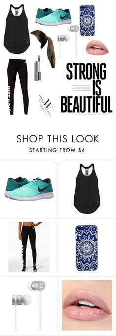 """Off to the gym be back never💪🏼💯"" by teabear-xoxo ❤ liked on Polyvore featuring NIKE, Beats by Dr. Dre and MAC Cosmetics"