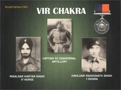 11 Sep 65 Capt SC Sabherwal Ris Kartar Singh&Hav Raghunath Singh awarded #VIRCHAKRA for exemplary  courage &http://valourpic.twitter.com/V66a71UgfL #IndianArmy #Army