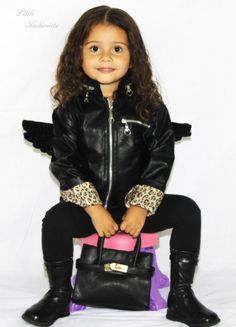 """Little Angel"" Leather Jacket & Mini Tote. Little Fashionista!"