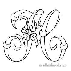 Monogram for Hand Embroidery: H via Mary Corbet