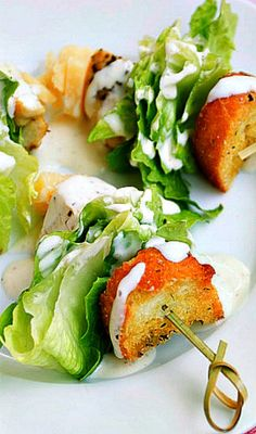 Chicken Caesar Salad on a Stick - simple yet delicious appetizer! What a neat idea! I want to do this!!