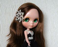 Handmade dress and handmade hair clips.